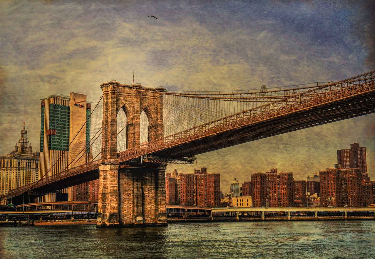 fototapete tapete brooklyn bridge bei europosters kostenloser versand. Black Bedroom Furniture Sets. Home Design Ideas