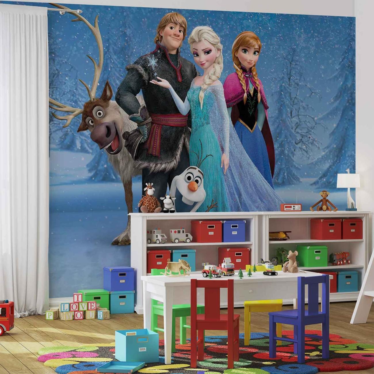 Top Fototapete, Tapete Disney Eiskönigin Elsa Anna Olaf Sven bei KA86