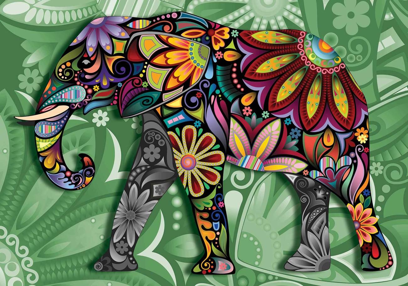 Fototapete, Tapete Elefant Blumen Abstrakt Bunt bei EuroPosters ...