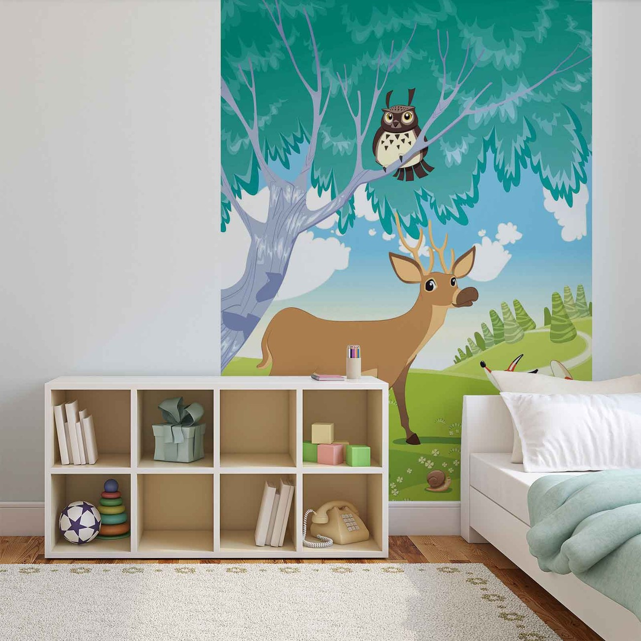 fototapete tapete eule hirsch fuchs marienk fer natur bei europosters. Black Bedroom Furniture Sets. Home Design Ideas