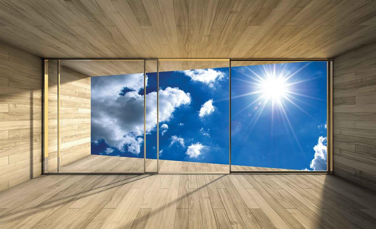 fototapete tapete fenster himmel wolken sonne natur bei europosters kostenloser versand. Black Bedroom Furniture Sets. Home Design Ideas