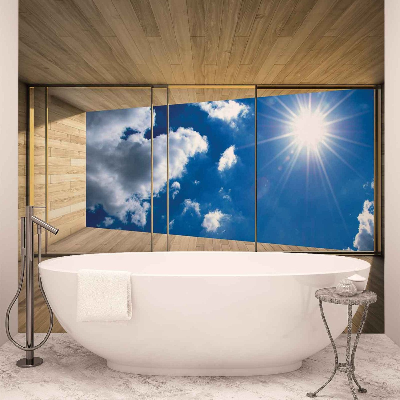 fototapete tapete fenster himmel wolken sonne natur bei europosters kostenloser versand. Black Bedroom Furniture Sets. Home Design Ideas