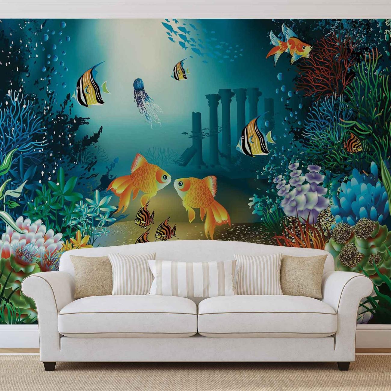 fototapete tapete fische korallen meer bei europosters kostenloser versand. Black Bedroom Furniture Sets. Home Design Ideas