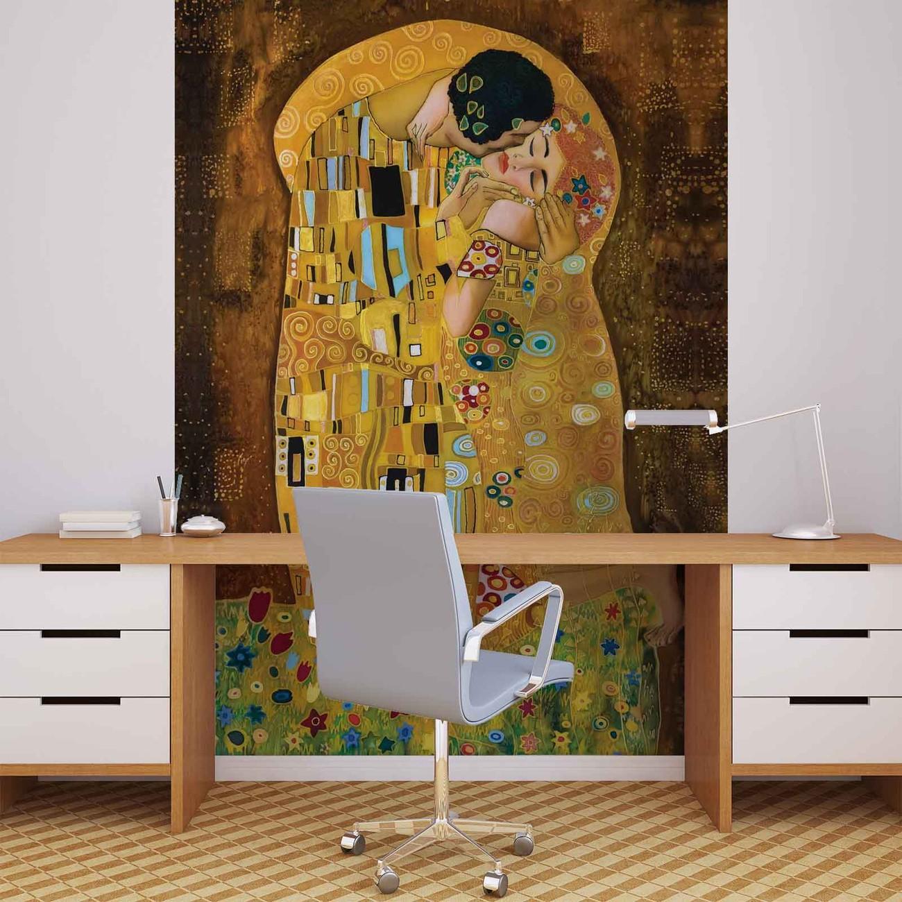 fototapete tapete gustav klimt kunst kuss bei europosters. Black Bedroom Furniture Sets. Home Design Ideas