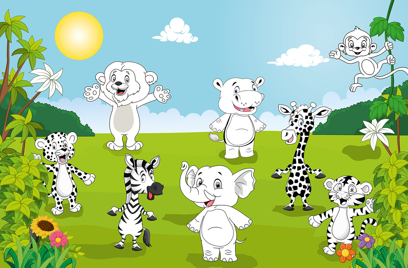 Fototapete, Tapete Happy Animals - COLOR IT YOURSELF bei EuroPosters ...