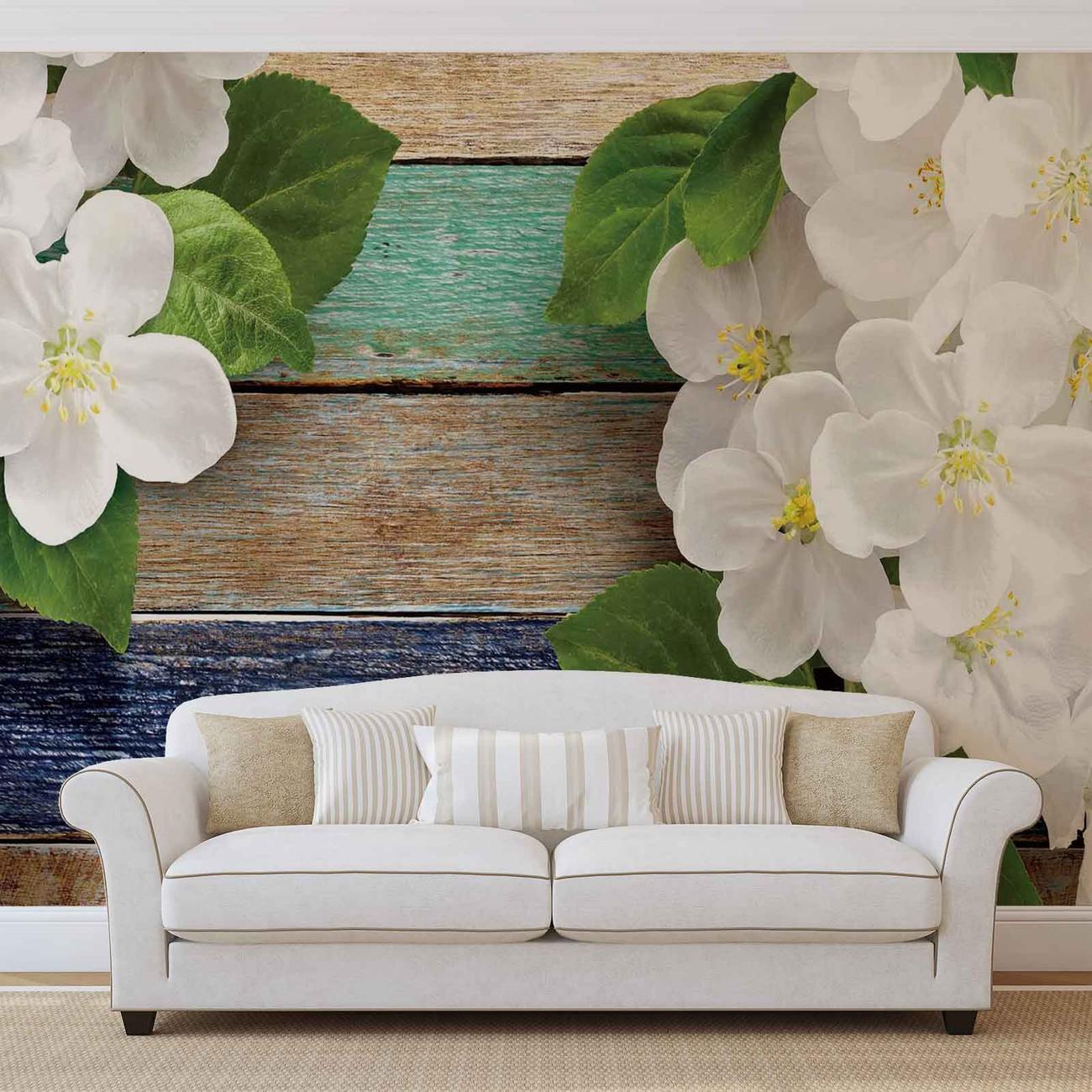 fototapete tapete holz zaun blumen bei europosters. Black Bedroom Furniture Sets. Home Design Ideas