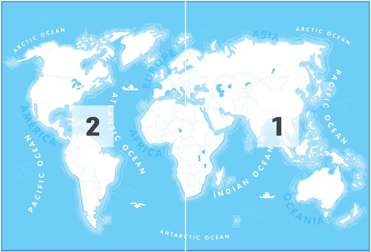 Fototapete, Tapete Karte von Welt, Weltkarte für Kinder bei ...
