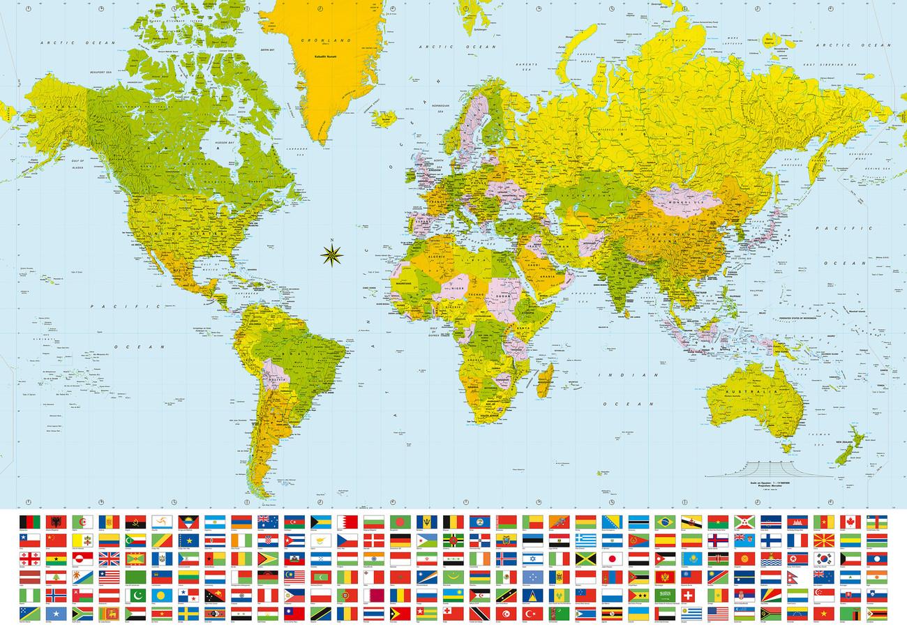 Künstlerisch Weltkarte Mit Städten Beste Wahl Karte Von Welt, - Politische Karte Fototapete