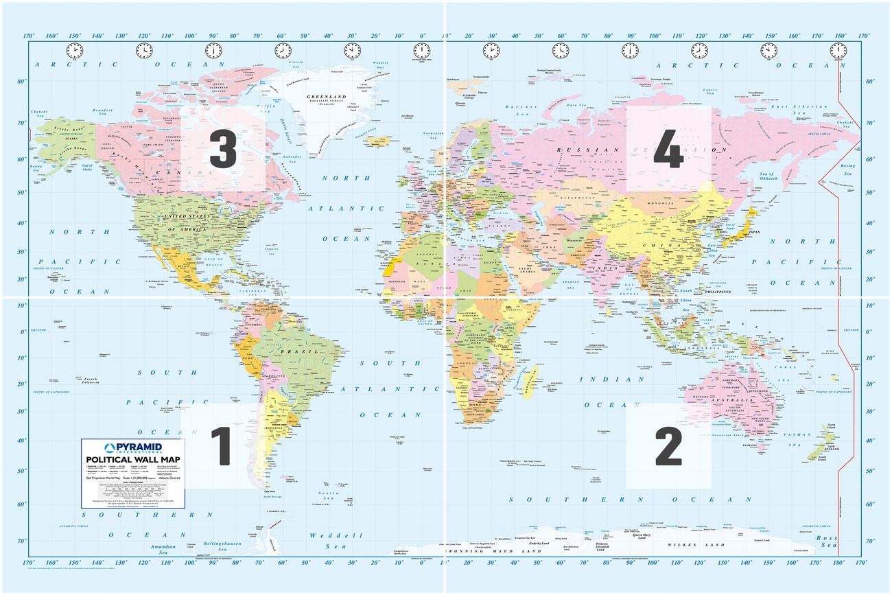 Fototapete, Tapete Karte von Welt, Weltkarte - Politische Karte bei ...