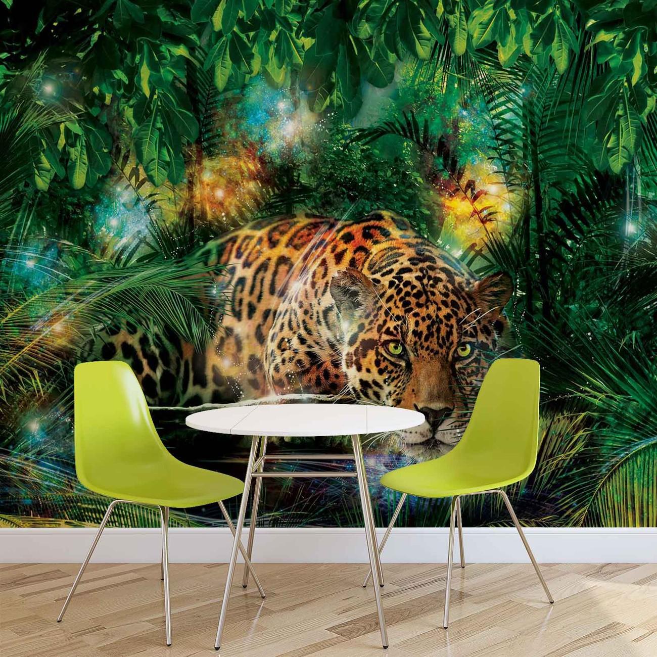 fototapete tapete leopard dschungel bei europosters kostenloser versand. Black Bedroom Furniture Sets. Home Design Ideas