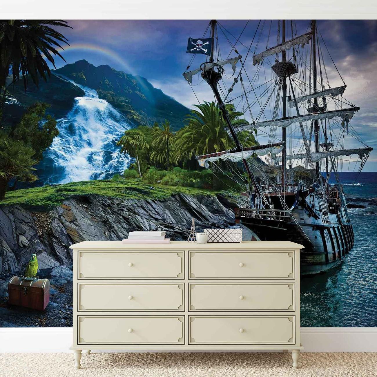 fototapete tapete meer schiff palmen wasserfall wald. Black Bedroom Furniture Sets. Home Design Ideas