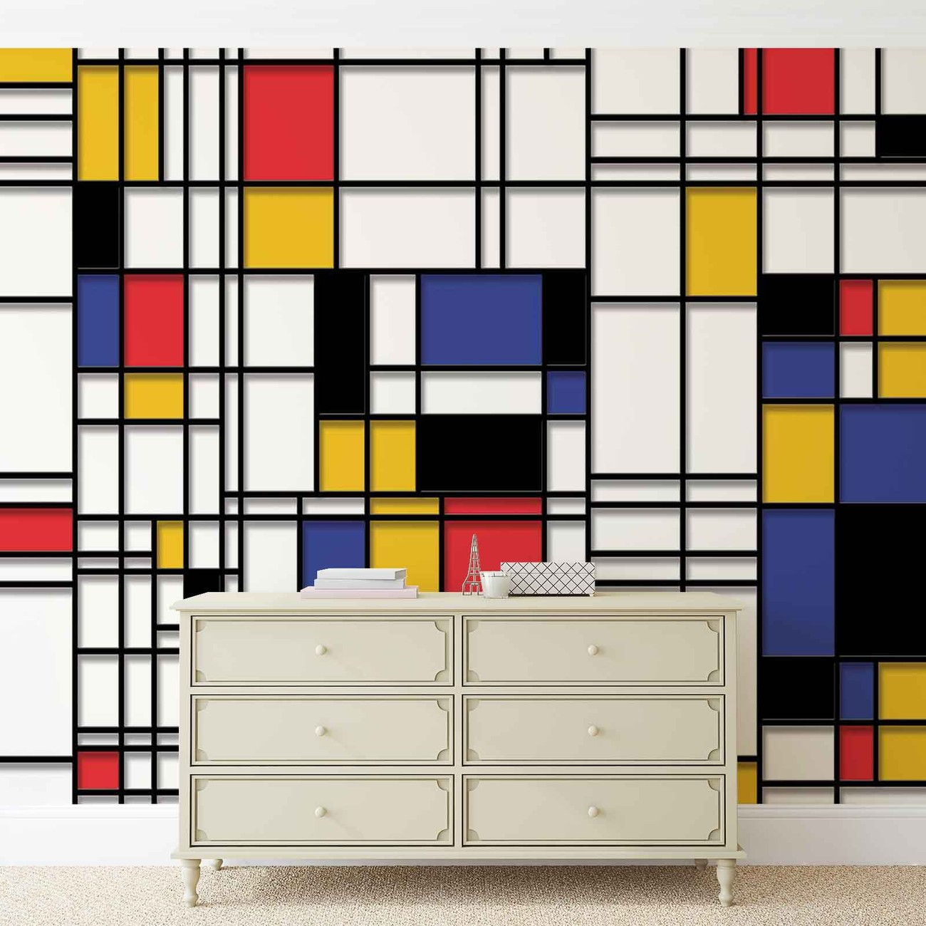 fototapete tapete mondrian moderne kunst bei europosters. Black Bedroom Furniture Sets. Home Design Ideas