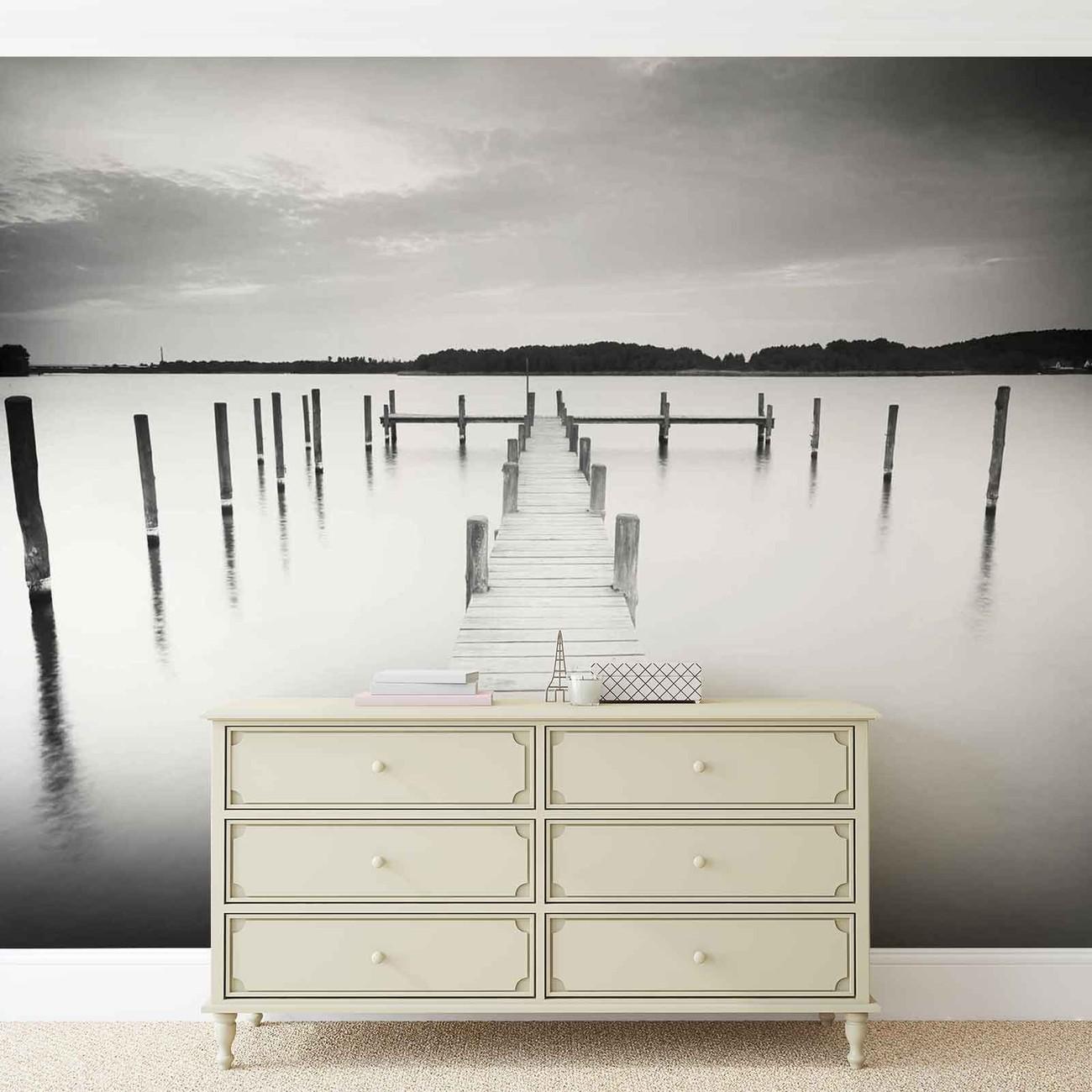 fototapete tapete natur wasser see bootssteg bei. Black Bedroom Furniture Sets. Home Design Ideas