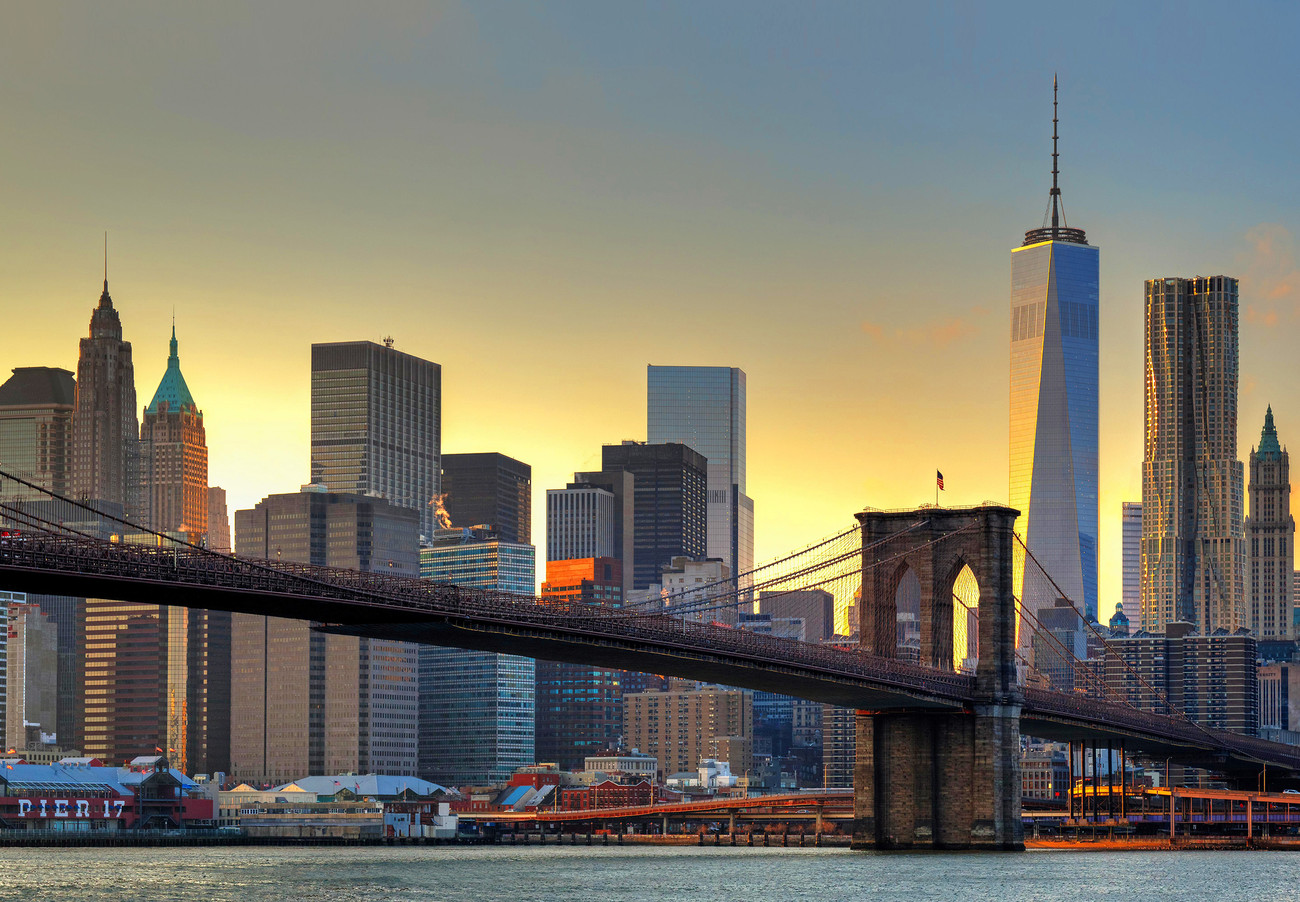 Fototapete, Tapete New York - Brooklyn Bridge at Sunset bei ...