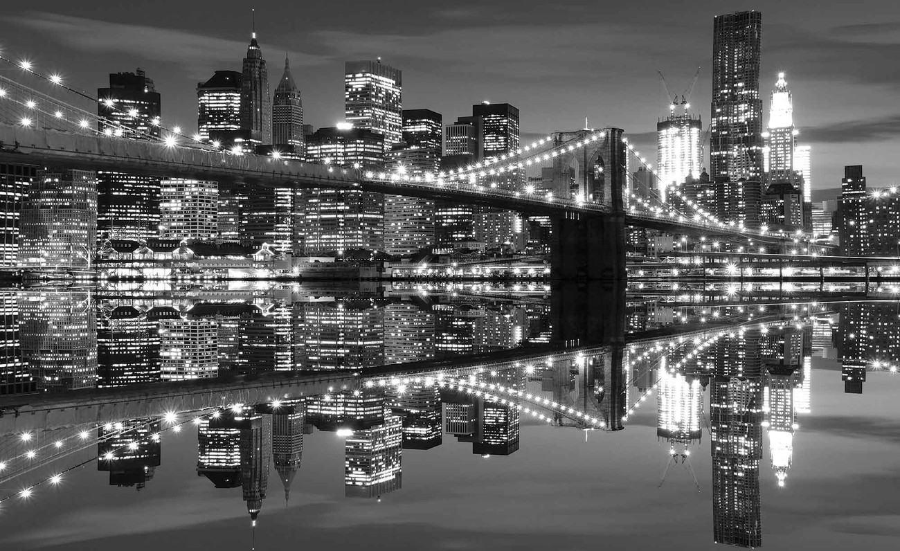 Fototapete, Tapete New York City Skyline Brooklyn-Bridge bei ...