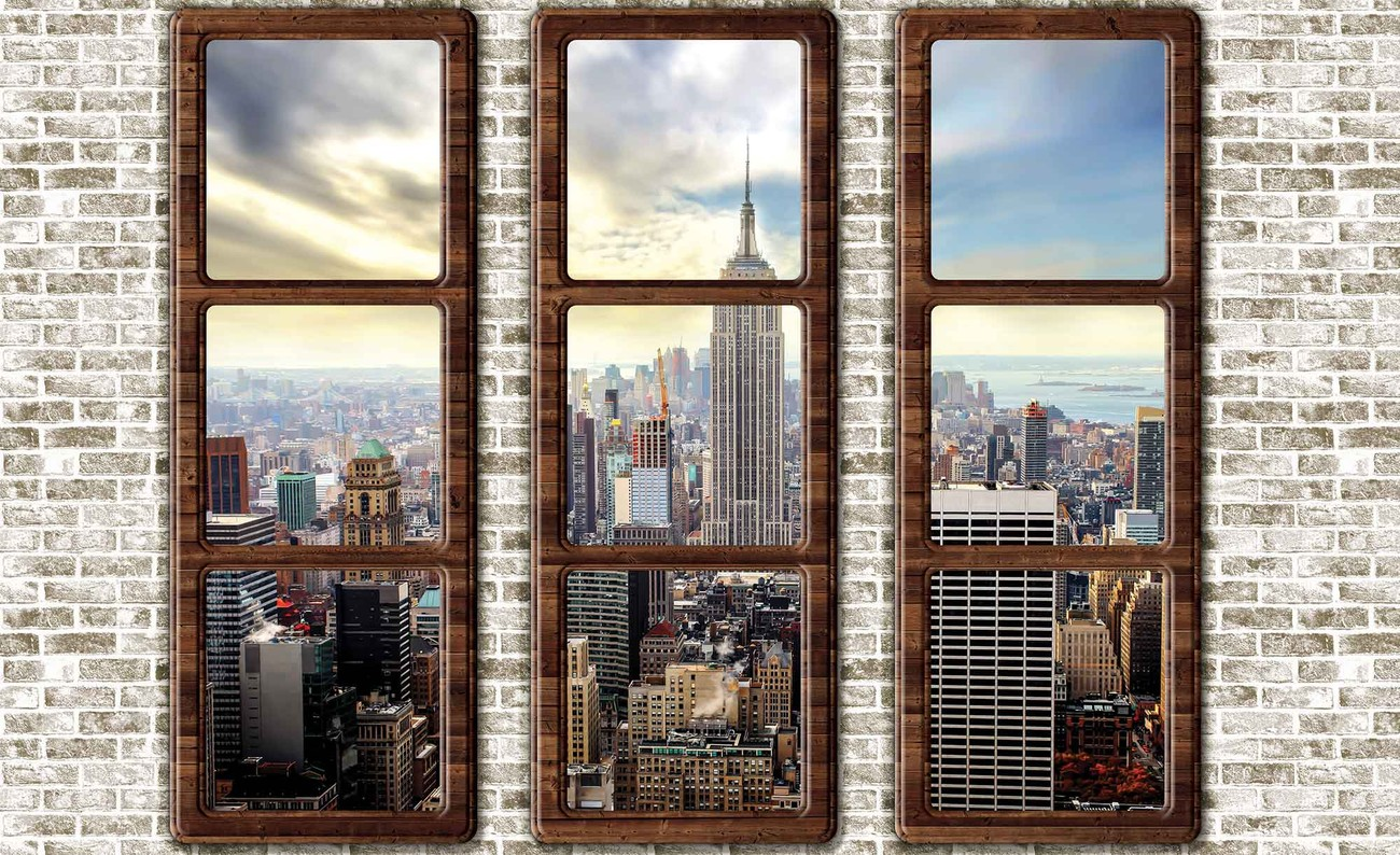 fototapete tapete new york city skyline fenster ausblick bei europosters kostenloser versand. Black Bedroom Furniture Sets. Home Design Ideas