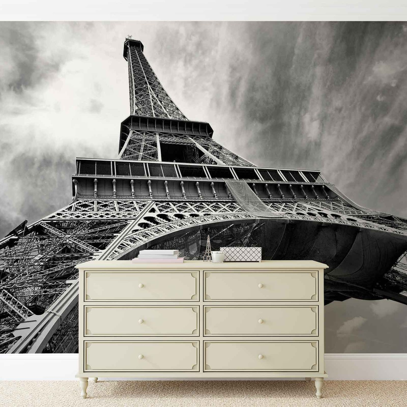 fototapete tapete paris eiffelturm schwarz wei bei. Black Bedroom Furniture Sets. Home Design Ideas