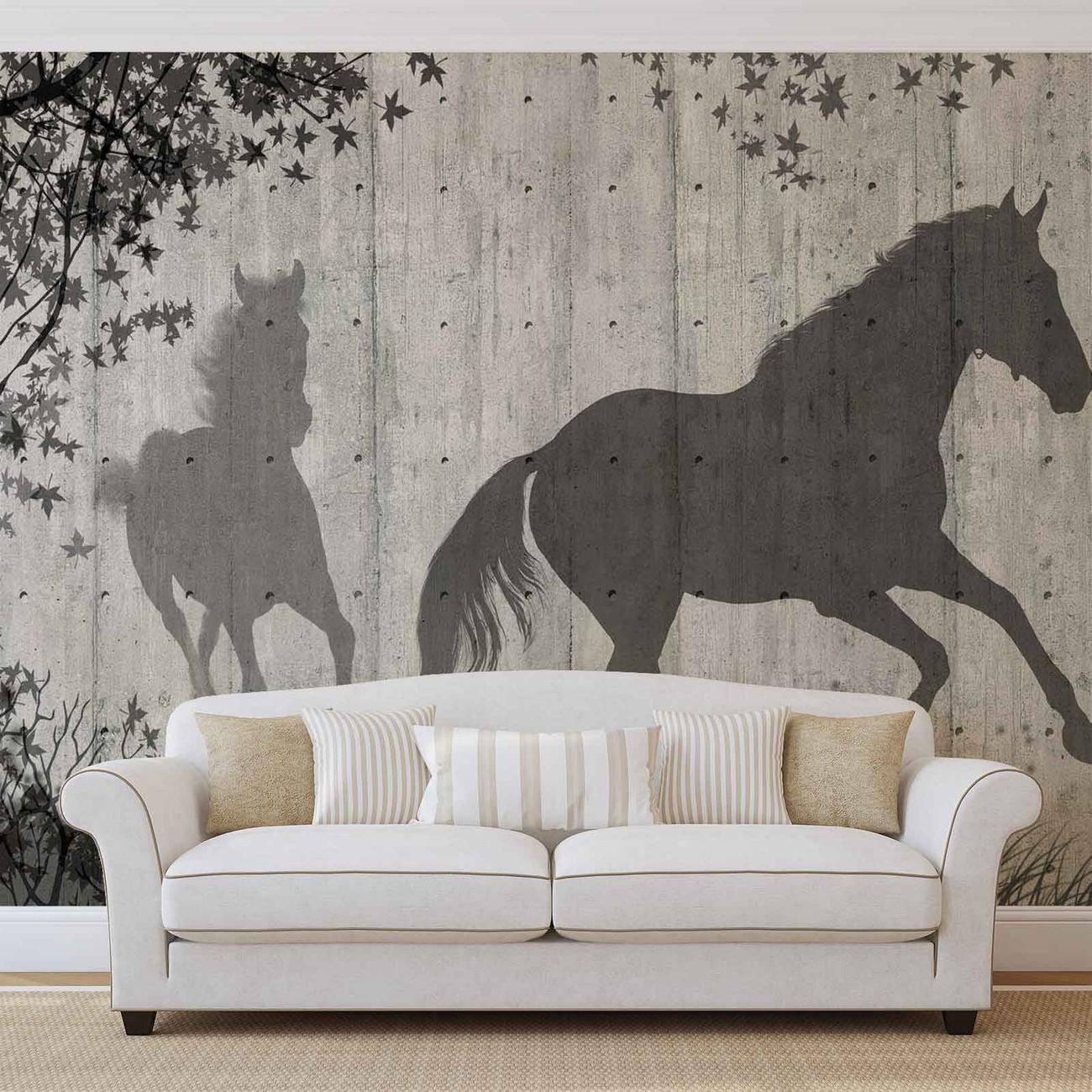 fototapete tapete pferde baum bl ttern wand bei. Black Bedroom Furniture Sets. Home Design Ideas