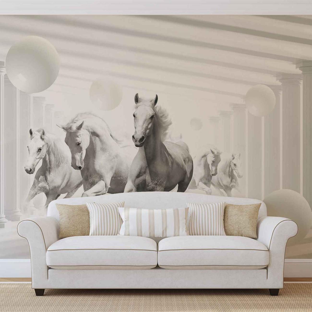 fototapete, tapete pferde weiß kugeln bei europosters - kostenloser