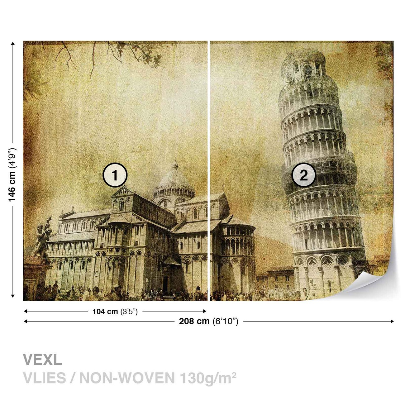 fototapete tapete pisa schiefer turm bei europosters kostenloser versand. Black Bedroom Furniture Sets. Home Design Ideas