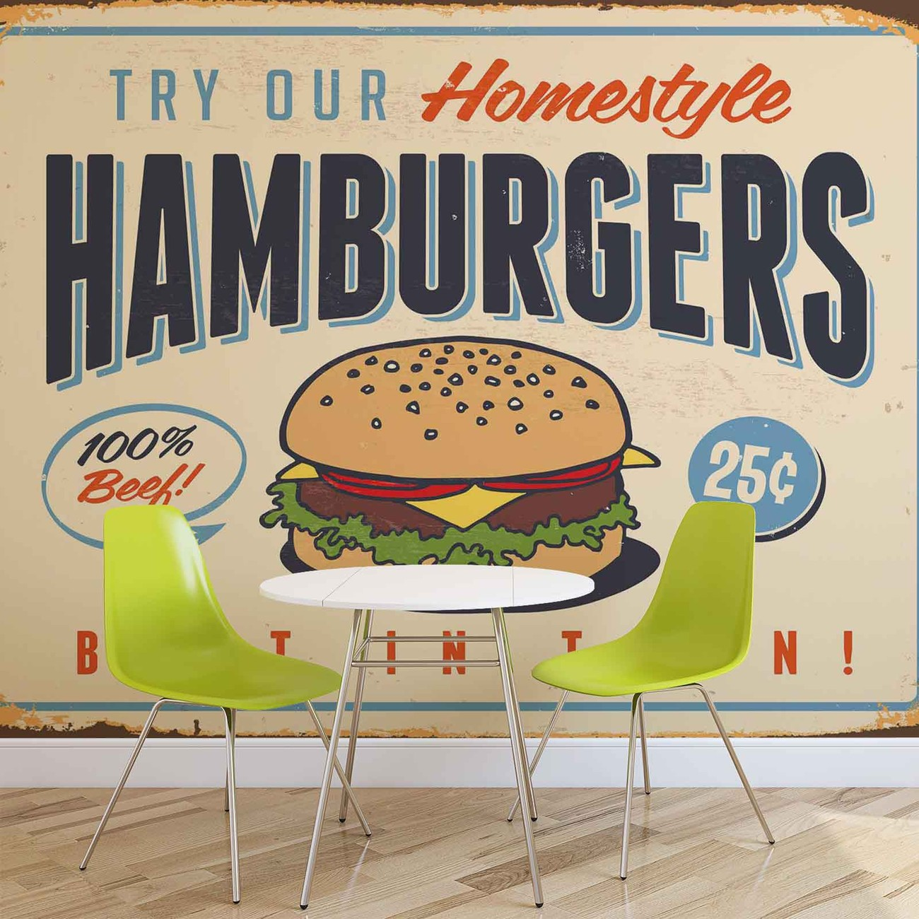 fototapete tapete retro plakat hamburger bei europosters. Black Bedroom Furniture Sets. Home Design Ideas