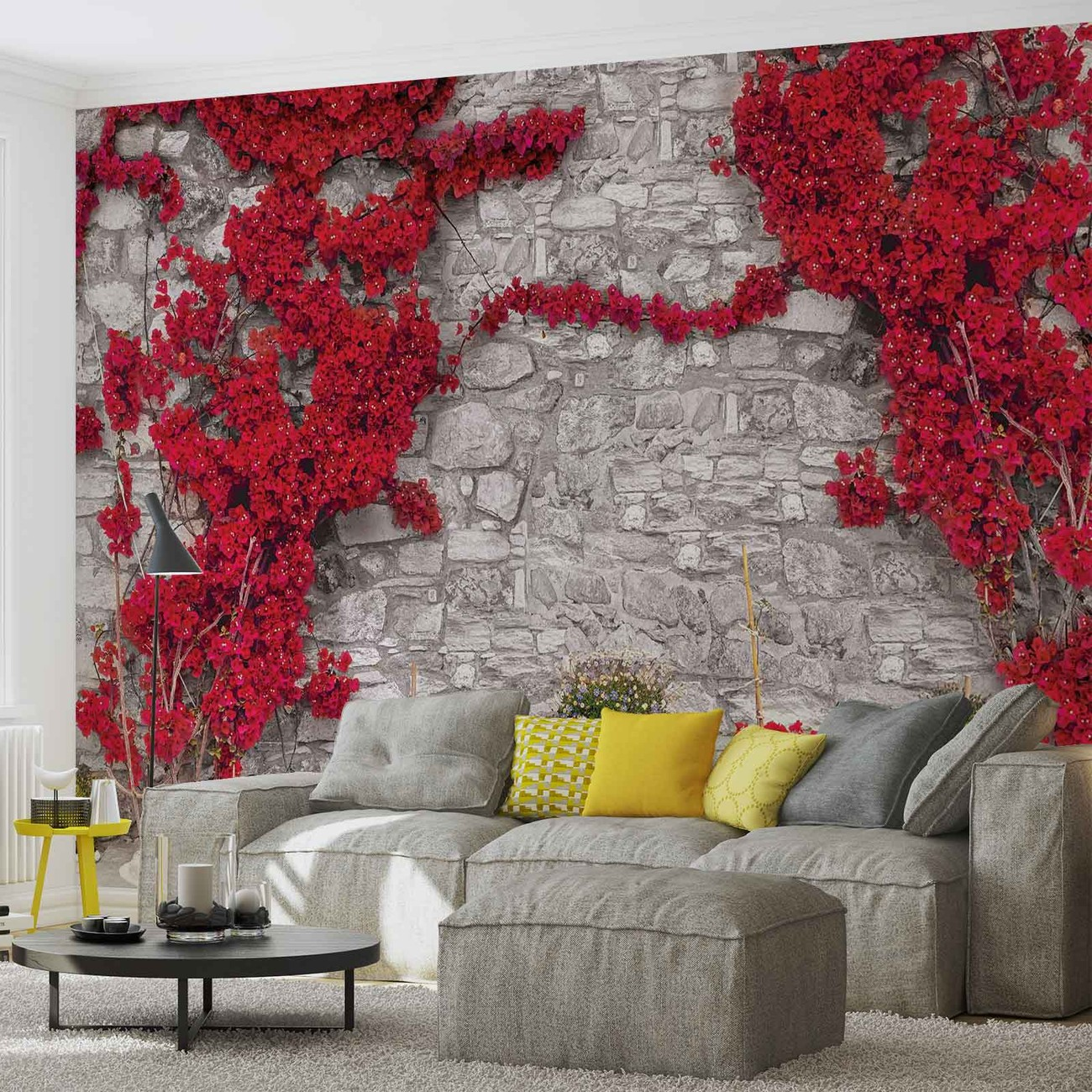 fototapete tapete rote blumen stein mauer bei europosters kostenloser versand. Black Bedroom Furniture Sets. Home Design Ideas