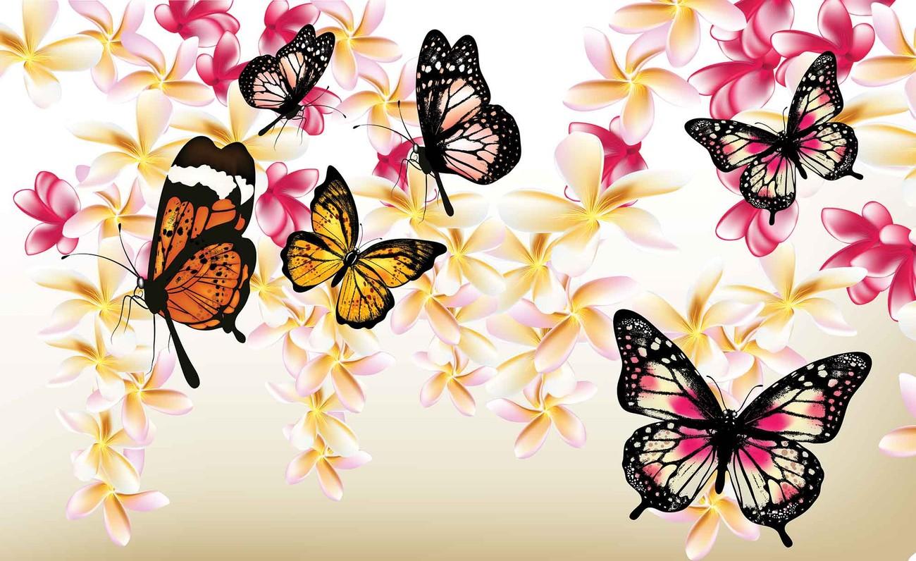 Fototapete, Tapete Schmetterlinge Blumen bei EuroPosters ...