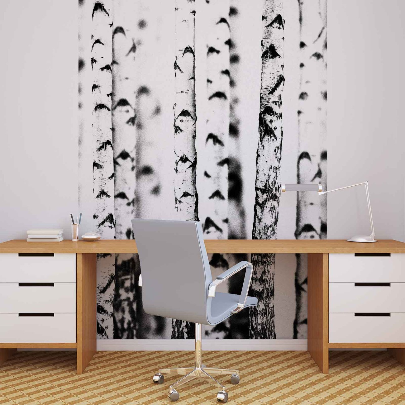 fototapete tapete schwarz wei b ume wald natur bei europosters kostenloser versand. Black Bedroom Furniture Sets. Home Design Ideas