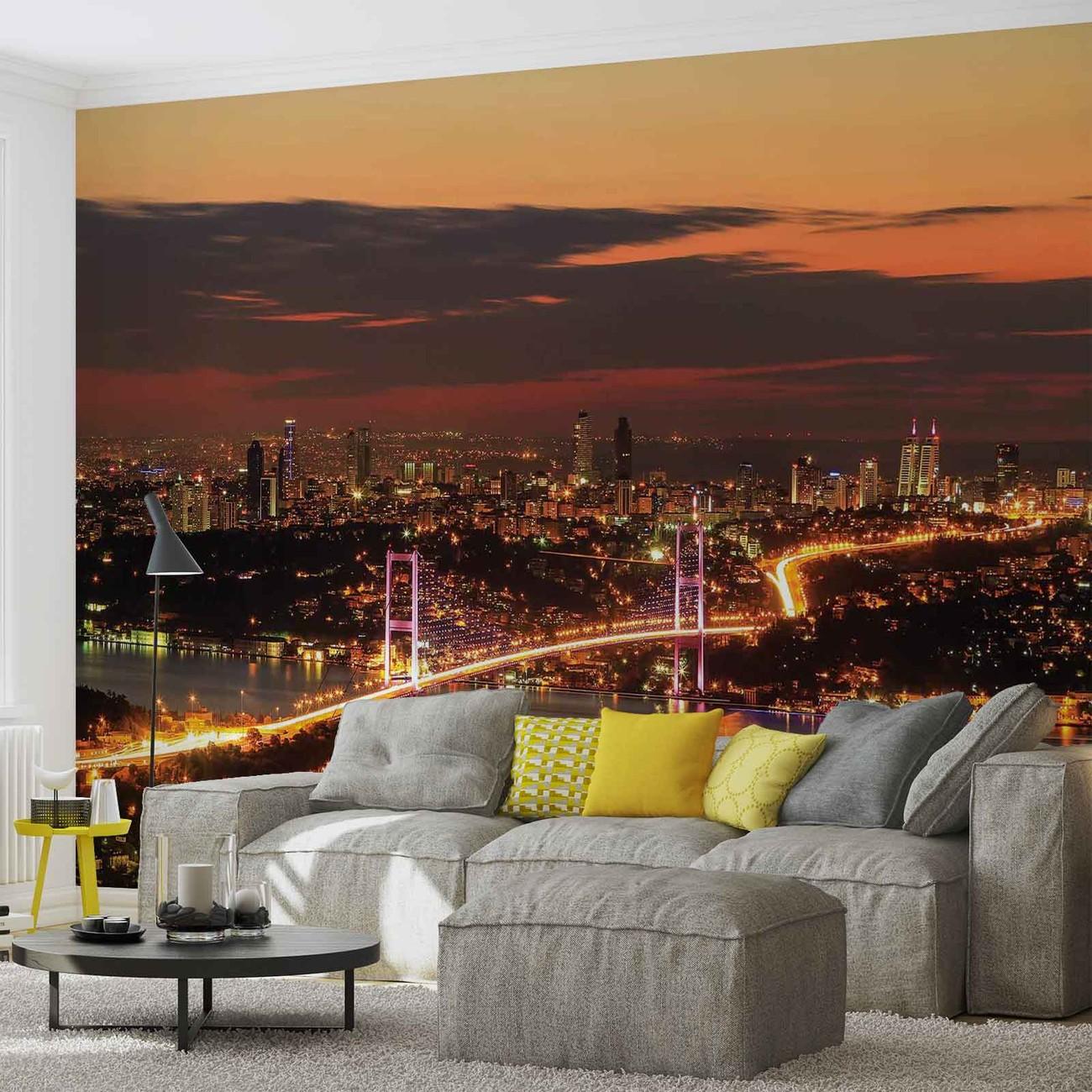 fototapete tapete stadt istanbul skyline bosporus bei europosters kostenloser versand. Black Bedroom Furniture Sets. Home Design Ideas