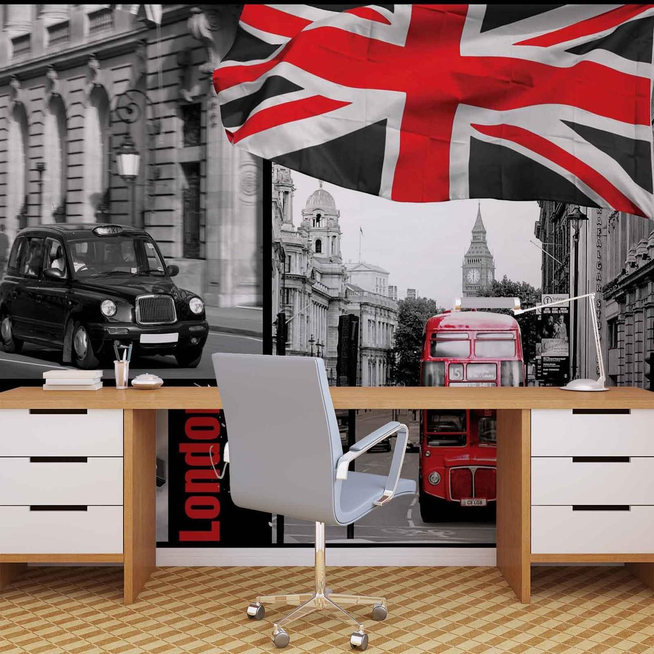 fototapete tapete stadt london bus taxi underground bei europosters kostenloser versand. Black Bedroom Furniture Sets. Home Design Ideas