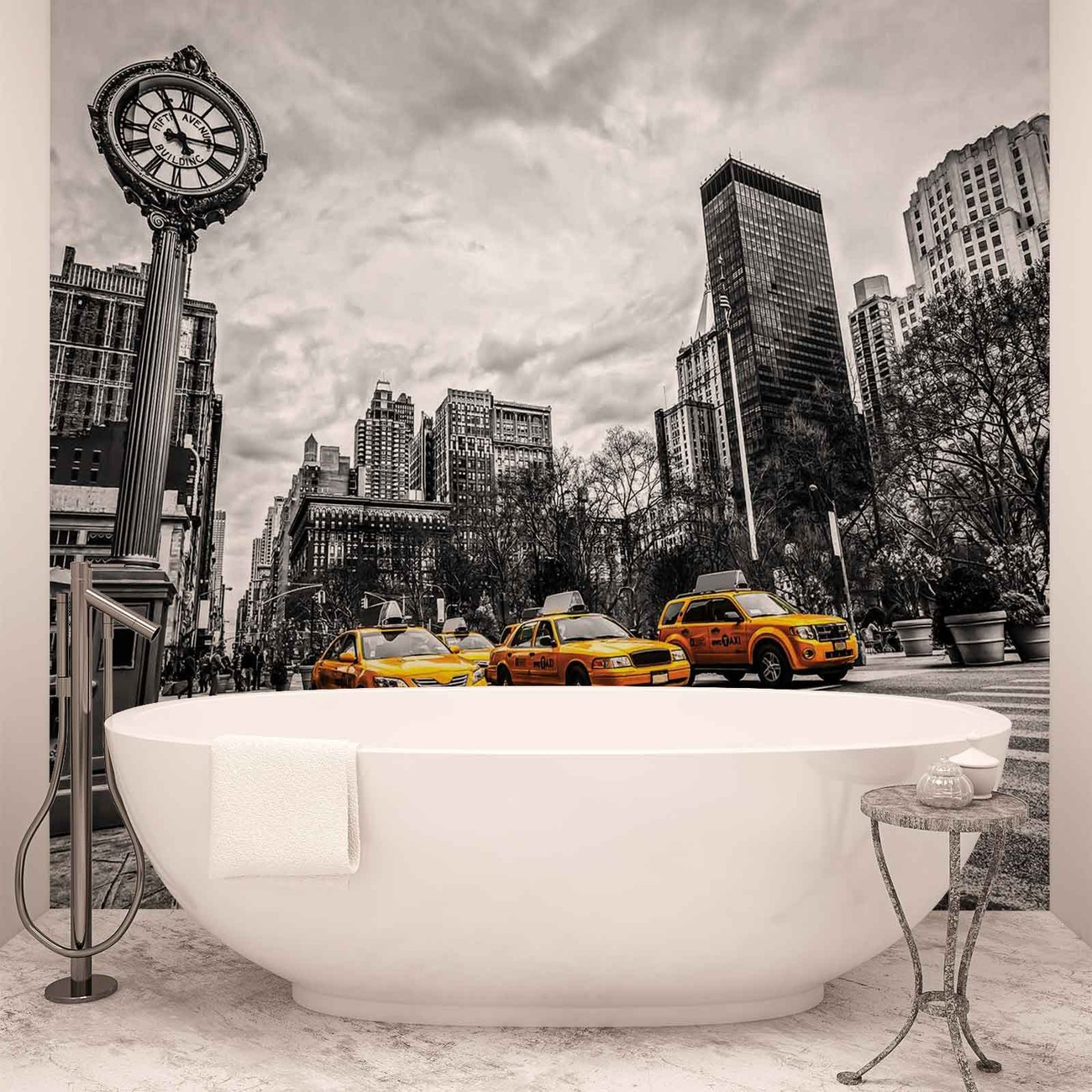 fototapete tapete stadt new york city taxis bei. Black Bedroom Furniture Sets. Home Design Ideas