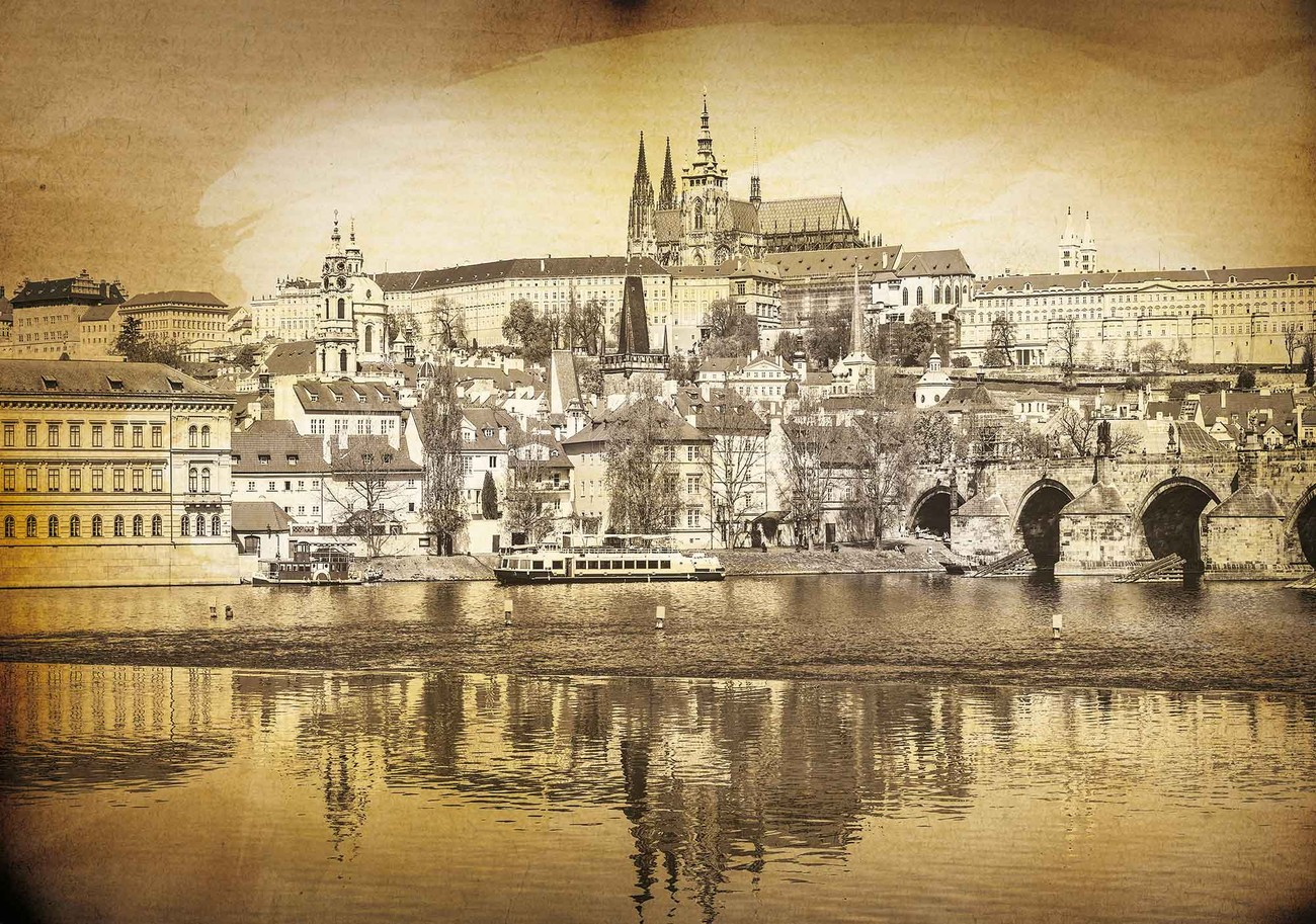 fototapete tapete stadt prag br cke kathedrale fluss sepia bei europosters kostenloser versand. Black Bedroom Furniture Sets. Home Design Ideas