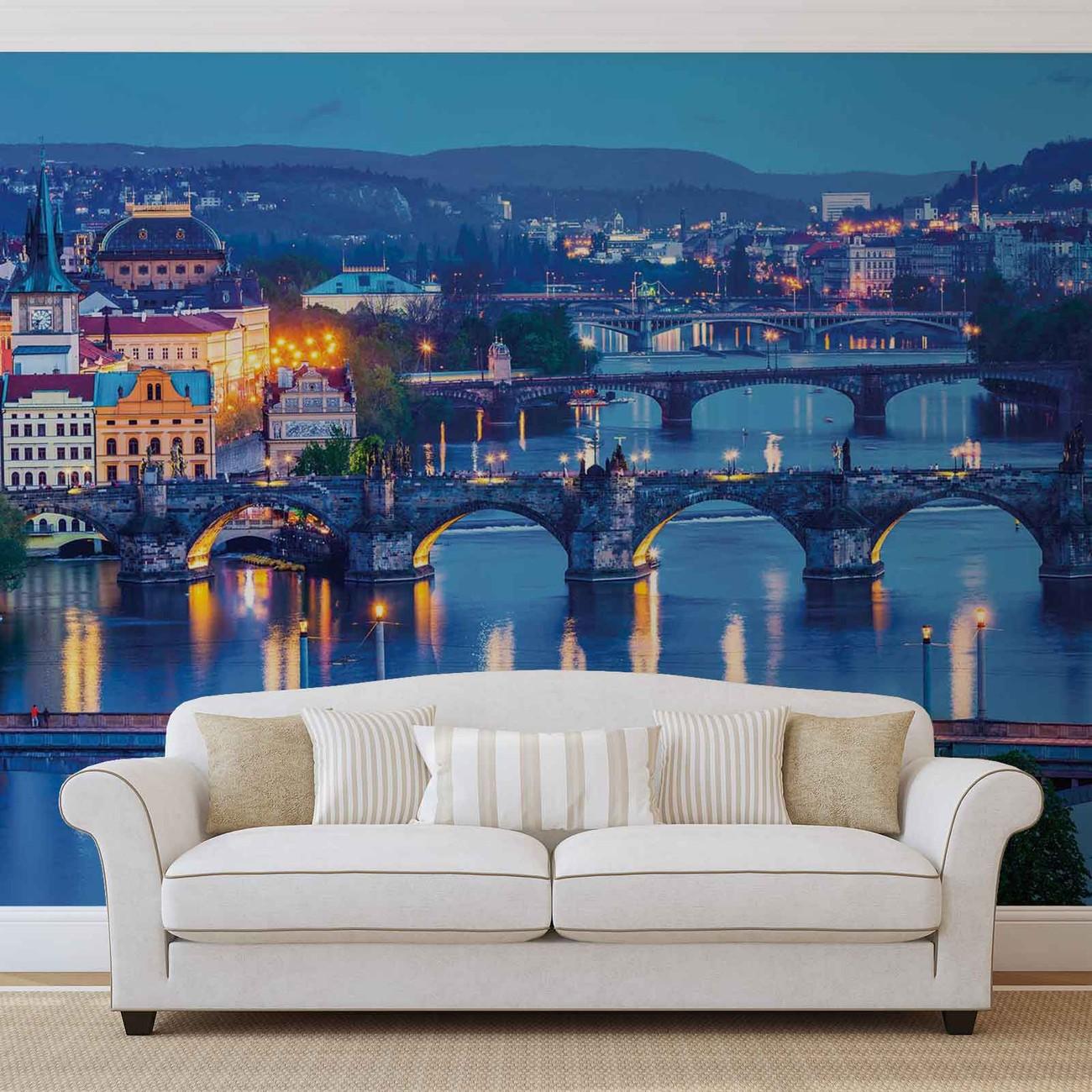 fototapete tapete stadt prag fluss br cke bei europosters kostenloser versand. Black Bedroom Furniture Sets. Home Design Ideas