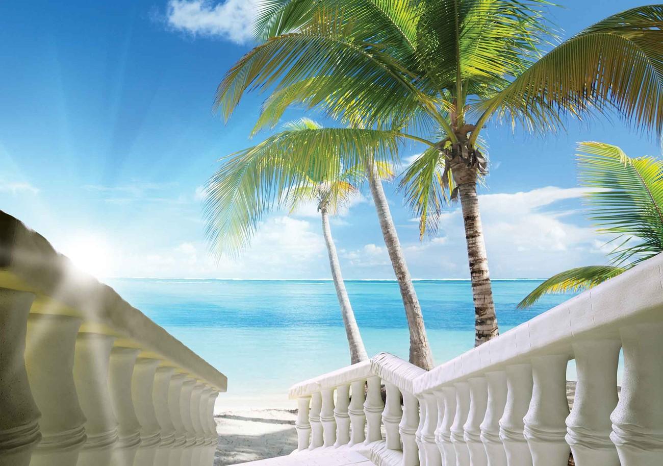 fototapete tapete strand tropisch see palmen bei europosters kostenloser versand. Black Bedroom Furniture Sets. Home Design Ideas