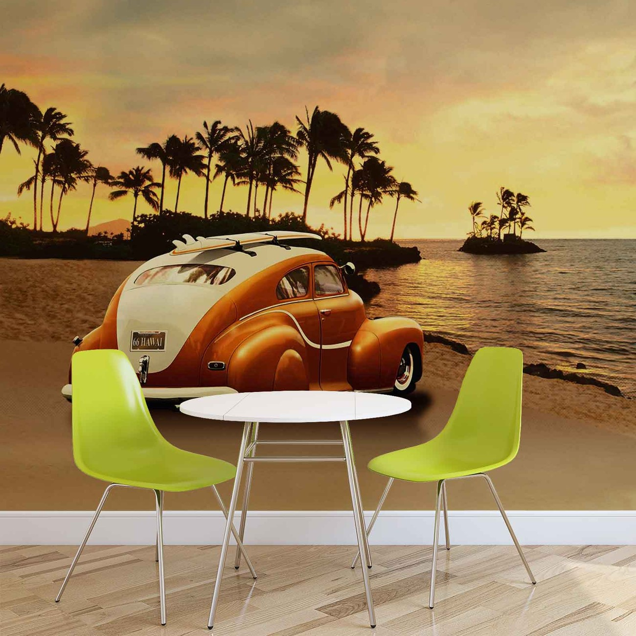 fototapete tapete vintage auto surf strand bei europosters. Black Bedroom Furniture Sets. Home Design Ideas