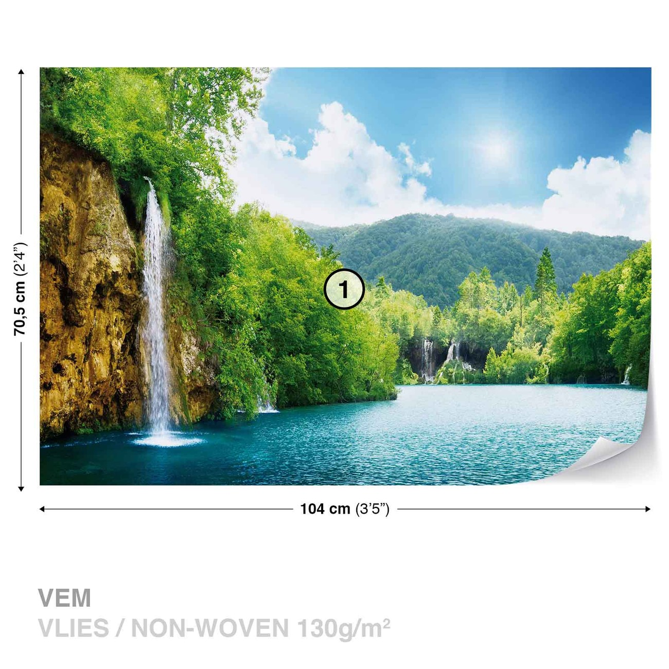 fototapete tapete wasserfall see natur bei europosters kostenloser versand. Black Bedroom Furniture Sets. Home Design Ideas