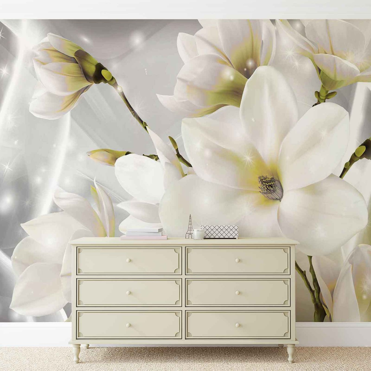 fototapete tapete wei e blumen bei europosters. Black Bedroom Furniture Sets. Home Design Ideas