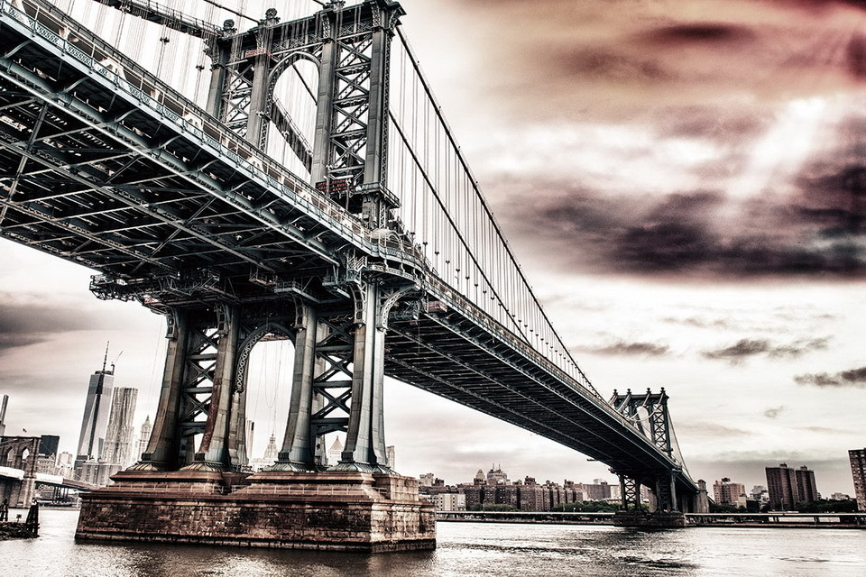 Glasbilder new york brooklyn bridge apocalypse bei europosters