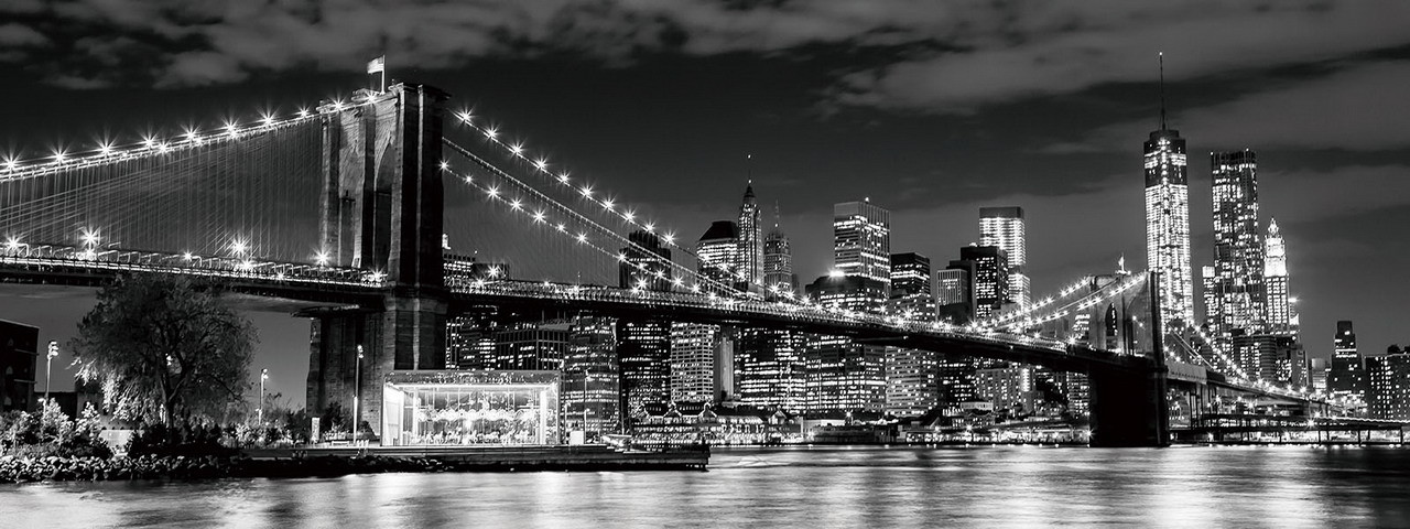 Glasbilder New York - Brooklyn Bridge at Night