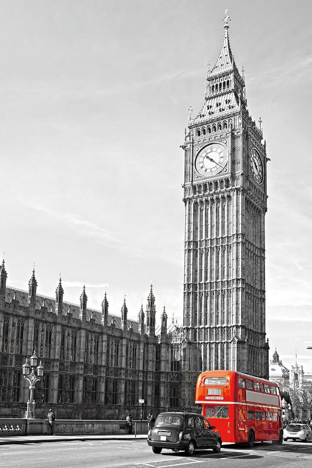 Glasschilderij London Big Ben and Red Bus