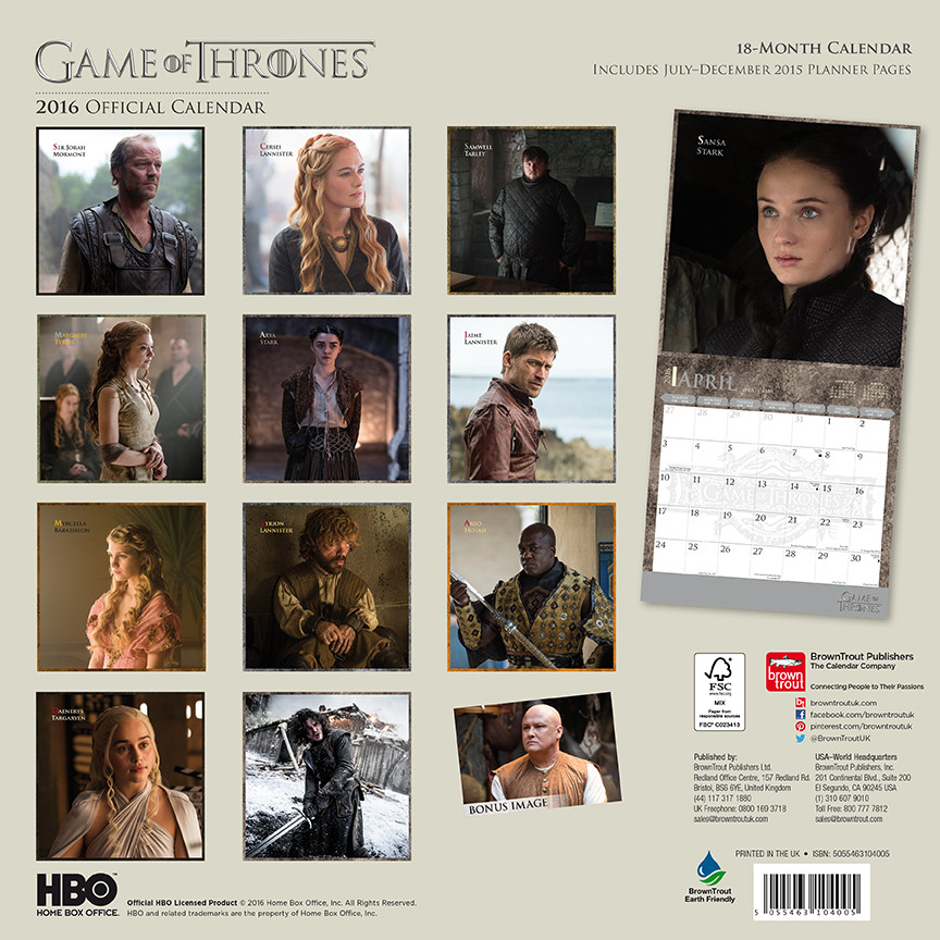 kalender 2019 game of thrones bei europosters. Black Bedroom Furniture Sets. Home Design Ideas