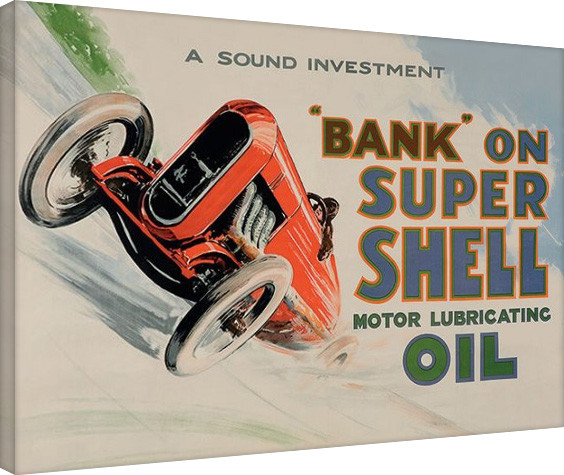 leinwand poster bilder shell bank on shell racing car. Black Bedroom Furniture Sets. Home Design Ideas
