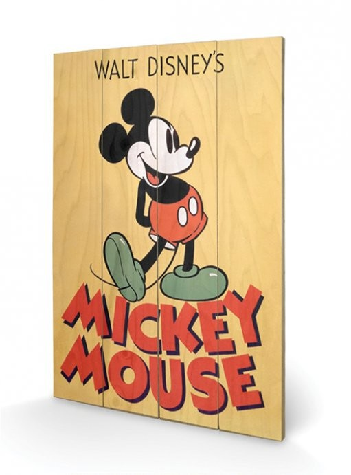 bild auf holz micky maus mickey mouse micky bei europosters. Black Bedroom Furniture Sets. Home Design Ideas