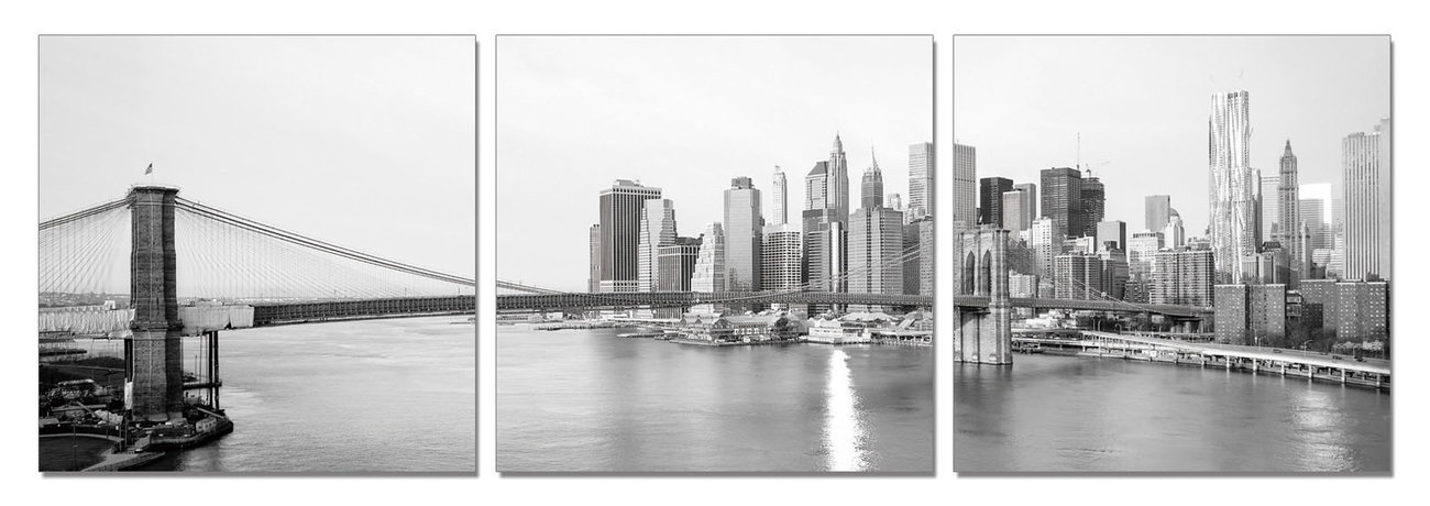 New York - Brooklyn Bridge and Manhattan (Zwart Wit) Schilderij ...