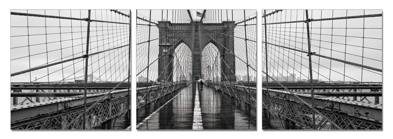 New York - Brooklyn Bridge (Zwart Wit) Schilderij - Bestel nu op ...