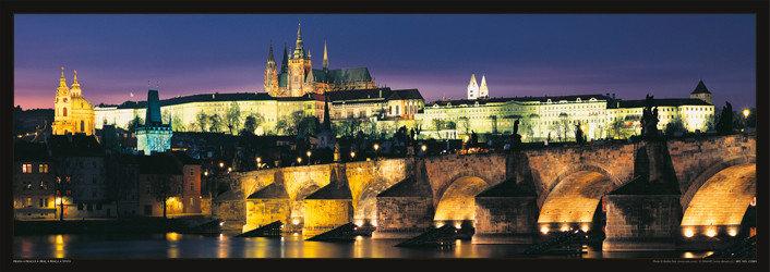 Plagát Prague – Prague castle & Charles bridge at night