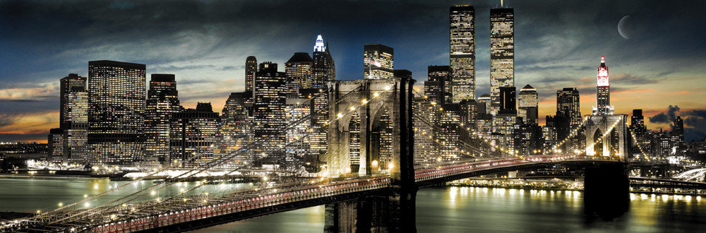 Manhattan - night and moon Plakat