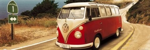 VW Volkswagen Californian - Route on Plakat