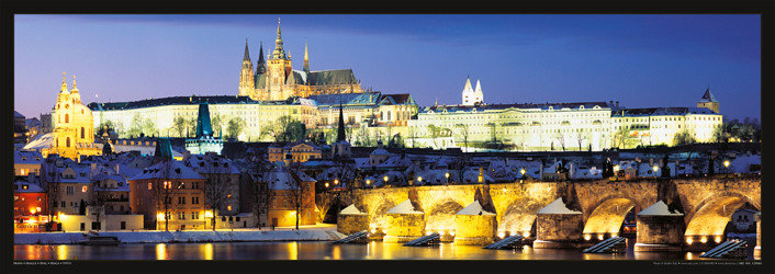 Prague – Prague castle & Charles bridge at night Plakát