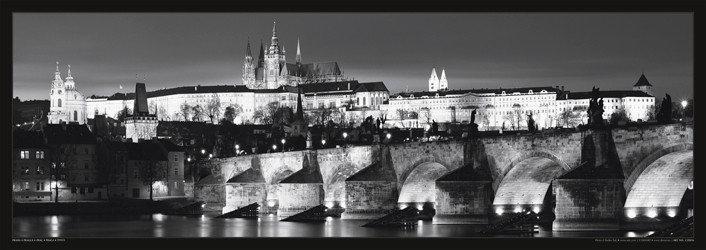 Plakát Praha - Pražský hrad / noc čb